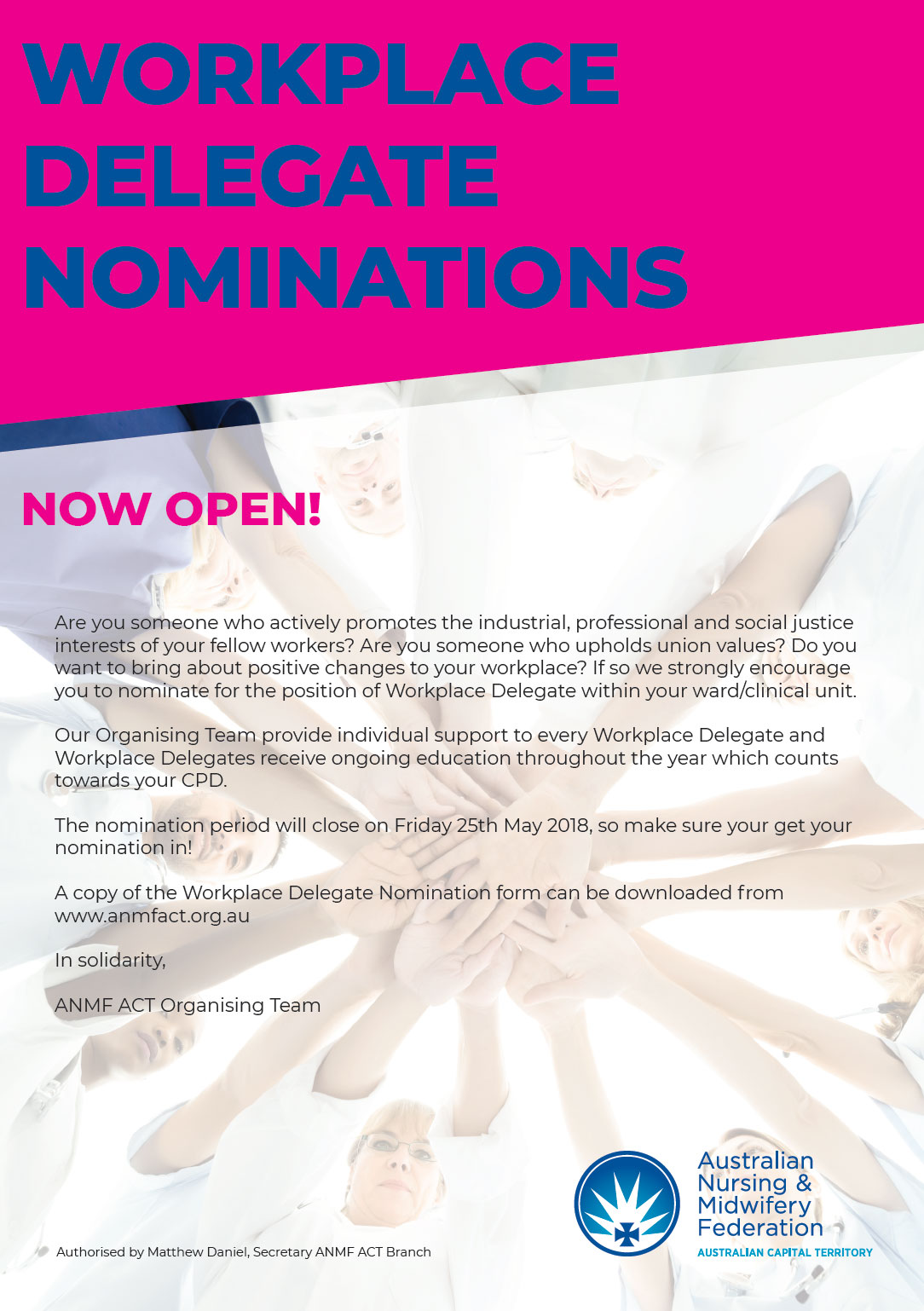 Workplace Delegate Nominations Now Open